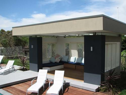 Indoor outdoor living with Pivoting Louvre Blade Shutters Sliding and bi folding screens