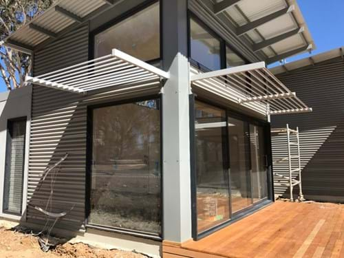 fixed louver blade sun awning